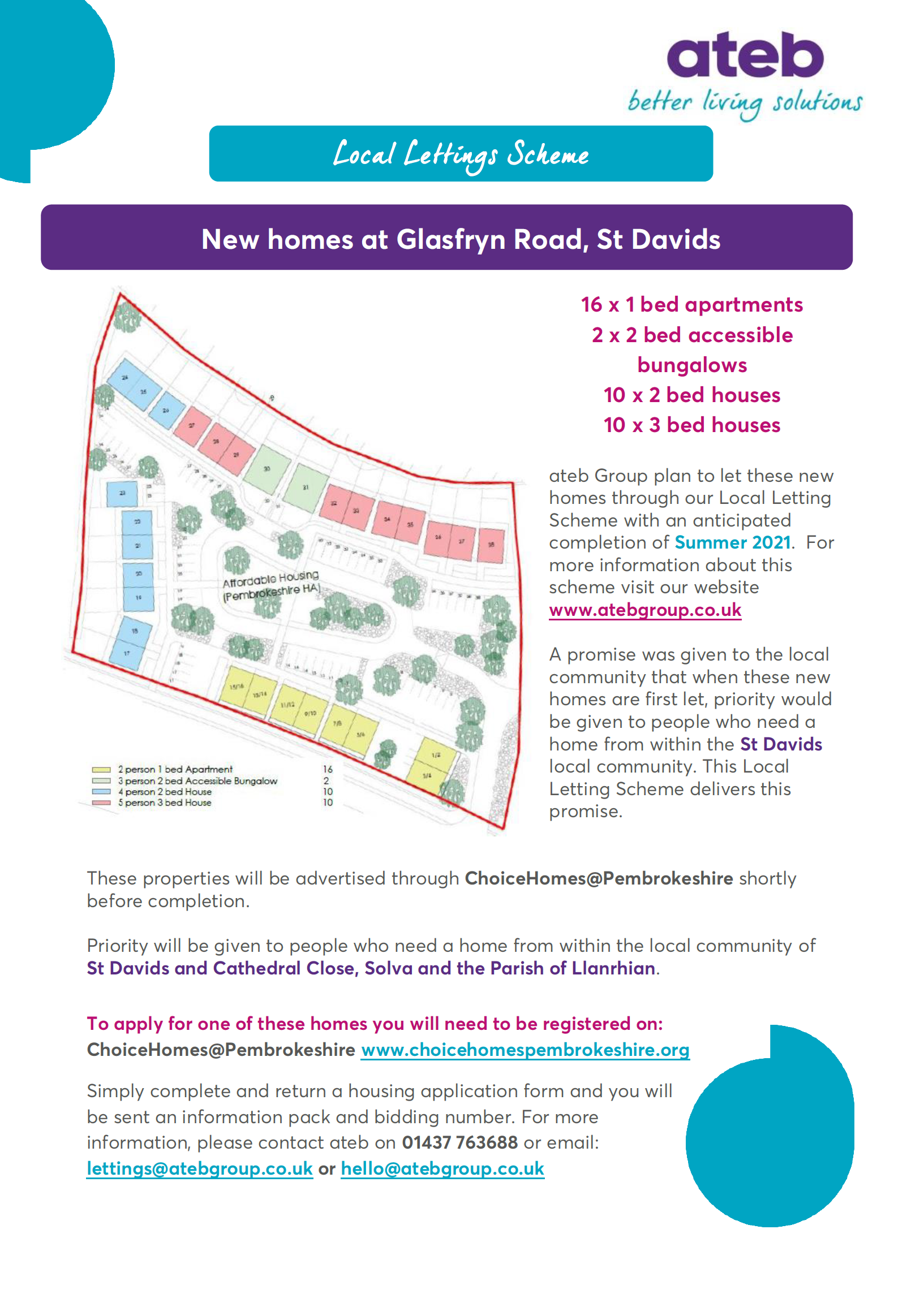 Here is a sneak peak of the Local Lettings Scheme for the new homes at Swn Y Mor, Glasfryn Road…